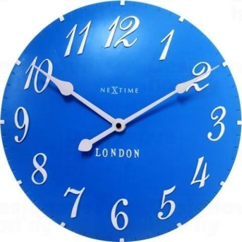 Dizajnové nástenné hodiny 3084bl Nextime v aglickém retro štýle 35cm