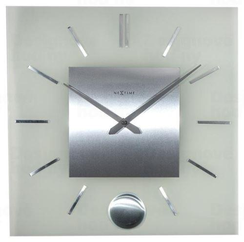Dizajnové nástenné hodiny 3146 Nextime Stripe Pendulum Square 40cm
