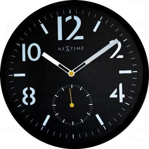 Dizajnové nástenné hodiny 3050 Nextime Serious Black 32cm