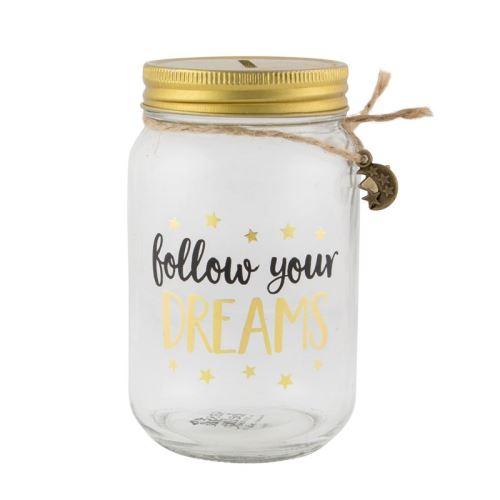 Pokladnička FOLLOW YOUR DREAMS Sass & Belle, sklo / kov- číra / čierna / zlatá