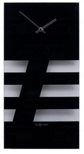 Dizajnové nástenné hodiny 2855zw Nextime BOLD STRIPES black 38x19cm