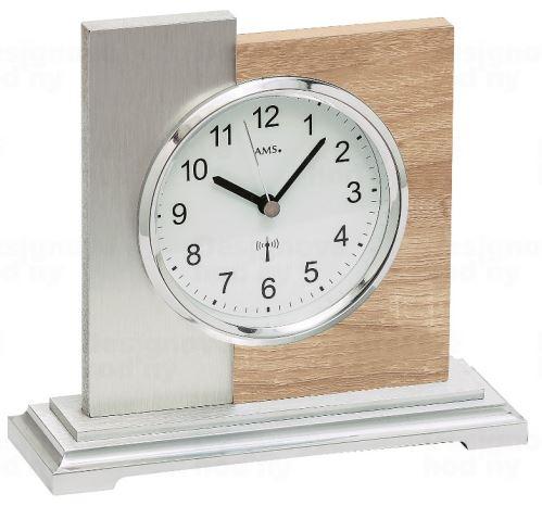 Luxusné stolové hodiny 5151 AMS s dekoráciu dreva Sonoma, riadené rádiovým signálom 17cm