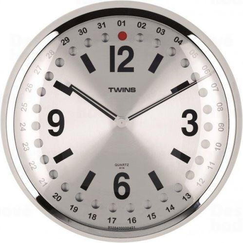 Nástenné hodiny Twins 14 silver 32cm