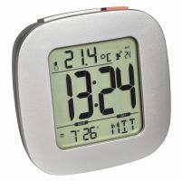 Digitálny rádiom riadený budík s ukazovateľom vnútornej teploty a podsvietením TFA 60.2542.54 - strieborný