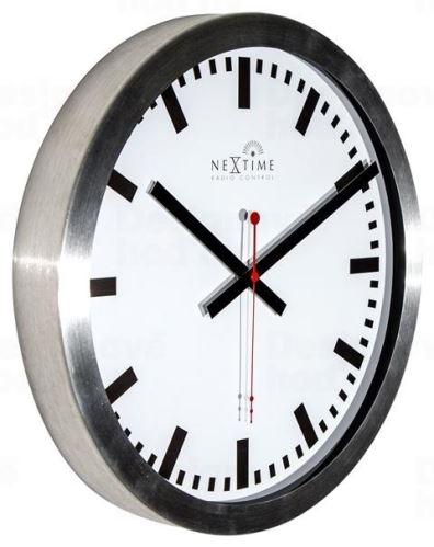 Dizajnové nástenné hodiny riadené signálom DCF 3999strc Nextime Station Stripe 35cm