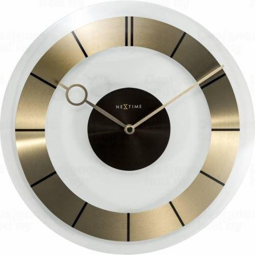 Dizajnové nástenné hodiny 2790go Nextime Retro Gold 31cm