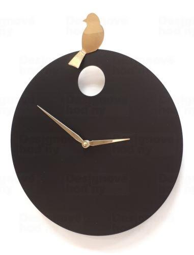 Dizajnové nástenné hodiny Diamantina & Domeniconi 394 black gold Bird 40cm