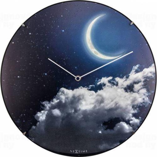 Dizajnové nástenné luminiscenčné hodiny Nextime 3177 New Moon 35cm