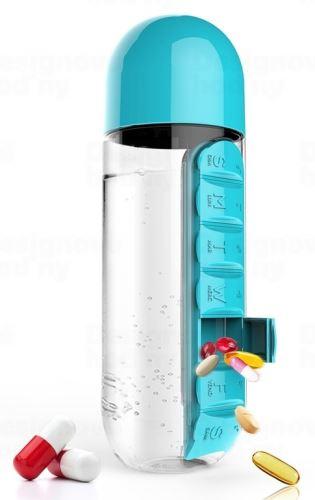ASOBO multifunkčné týždenné dávkovacie fľaša Pill Organizer tyrkys 600ml