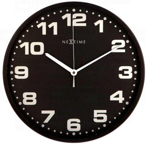 Dizajnové nástenné hodiny 3053zw Nextime Dash Black 35cm