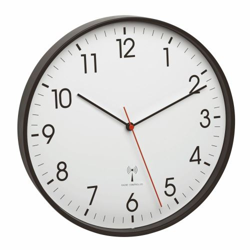 Nástenné hodiny riadené rádiovým signálom TFA 60.3537.01 - čierne