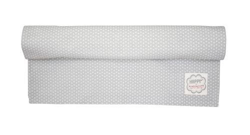Sivý bavlnený behúň s bielymi bodkami