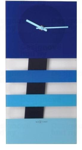 Dizajnové nástenné kyvadlové hodiny 2855bl Nextime Bold Stripes 38x19cm