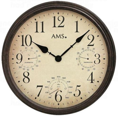 Nástenné hodiny 9463 AMS meteostanice 42cm