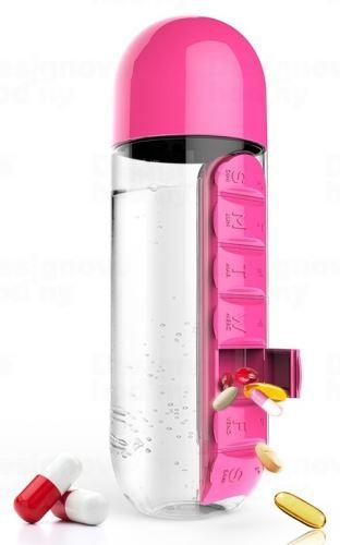 ASOBO multifunkčné týždenné dávkovacie fľaša Pill Organizer ružová 600ml
