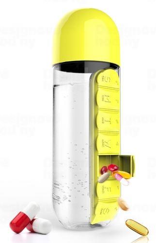 ASOBO multifunkčné týždenné dávkovacie fľaša Pill Organizer žltá 600ml