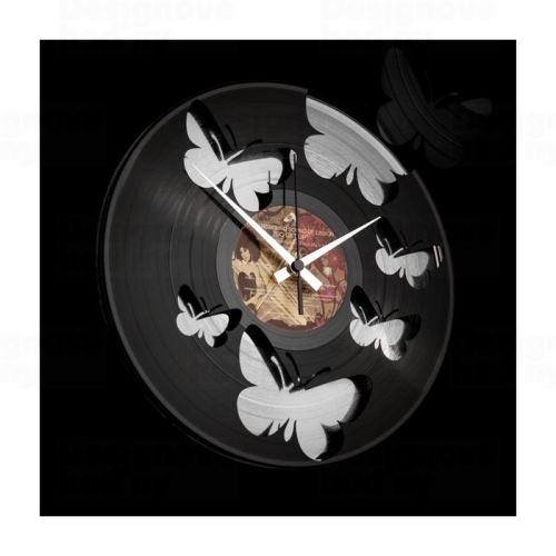Dizajnové nástenné hodiny Discoclock 056 Motýle Silver 30cm