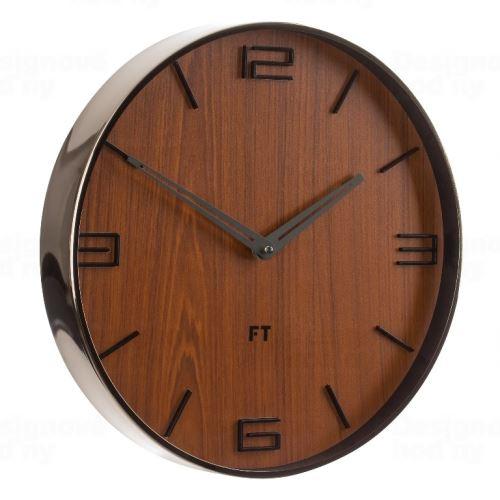 Dizajnové nástenné hodiny Future Time FT3010BR Flat walnut 30cm