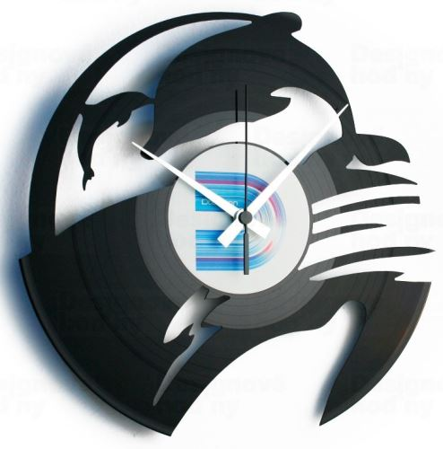 Dizajnové nástenné hodiny Discoclock 093 Delfíny 30cm