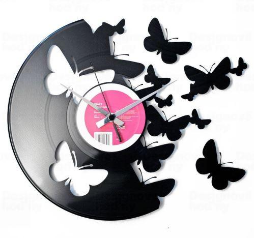 Dizajnové nástenné hodiny Discoclock 056 Motýle 30cm
