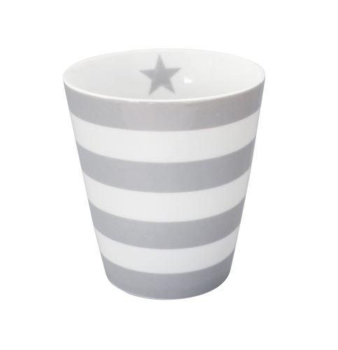 Porcelánová váza sivá s bielymi pruhmi