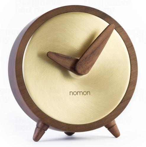 Dizajnové stolové hodiny Nomon atómom Gold 10cm
