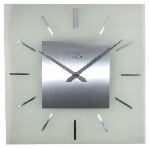 Dizajnové nástenné hodiny riadené signálom DCF 3148 Nextime Stripe Square 40cm