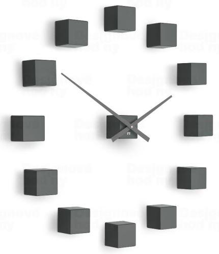Dizajnové nástenné nalepovacie hodiny Future Time FT3000TT Cubic titanium