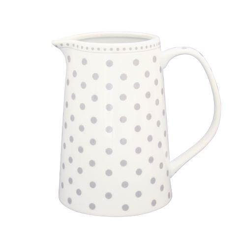 Porcelánová mlíčenka biela s šedými bodkami