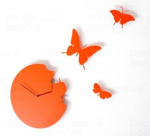 Dizajnové hodiny Diamantino & Domeniconi Butterfly orange 40cm