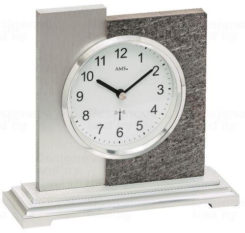 Luxusné stolové hodiny 5150 AMS s dekoráciu kameňa, riadené rádiovým signálom 17cm