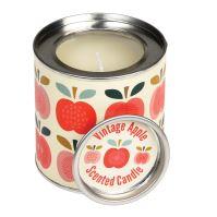 Dizajnová sviečka v plechu VINTAGE štýle s jabĺčkami
