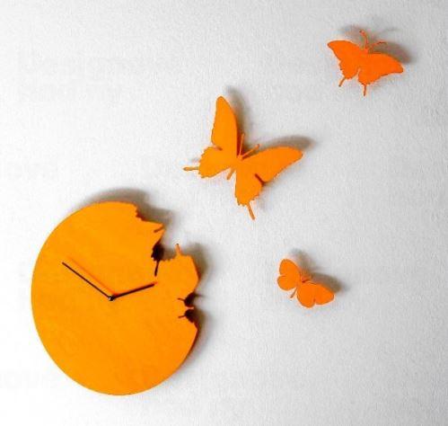 Dizajnové hodiny Diamantino a Domeniconi Butterfly diamond yellow 40cm