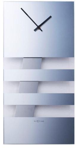 Dizajnové nástenné hodiny 2855 Nextime BOLD STRIPES silver 38x19cm