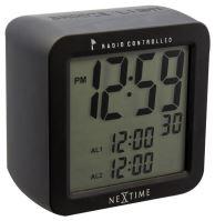 Dizajnové stolové digitálne hodiny riadené signálom DCF 5201zw Nextime Square Alarm 10cm