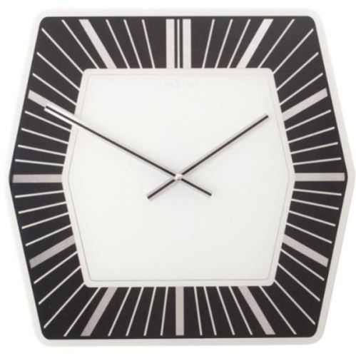 Dizajnové nástenné hodiny 8128zw Nextime HEXAGON black 43cm
