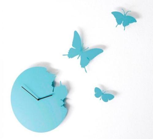 Dizajnové hodiny Diamantino & Domeniconi Butterfly sky blue 40cm
