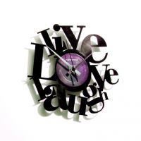 Dizajnové nástenné hodiny Discoclock 007 Live love laugh 30cm