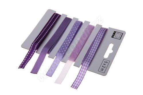 Fialový set textilních stuh 1,1cm x 2m 5ks