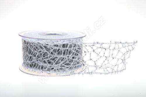 Dekorativní stuha Big spider glitter 5cm x 9,1m 23-BÍLÁ