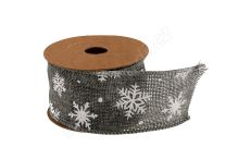 Vianočné jutová stuha vzor vločka 5cm x 5m AJ1605 3 - sivá / biela
