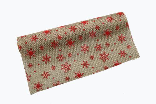 Vianočný jutová role 28cm x 3m 47 - prírodná / červená
