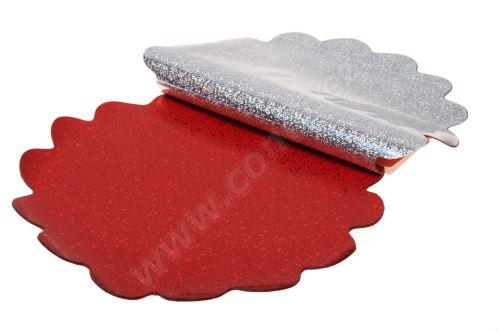 Ronda 30cm holograf červená kolečka 1/2 50ks
