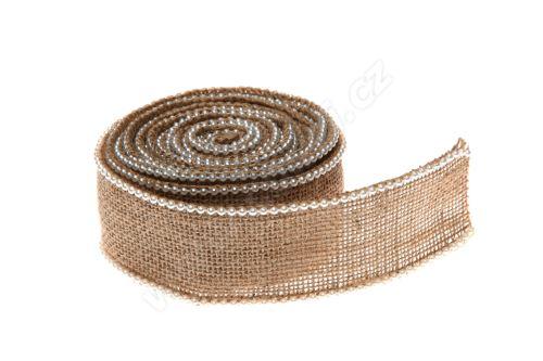 Stuha jutová s perlami 5cm x 3m JL023 -prírodné