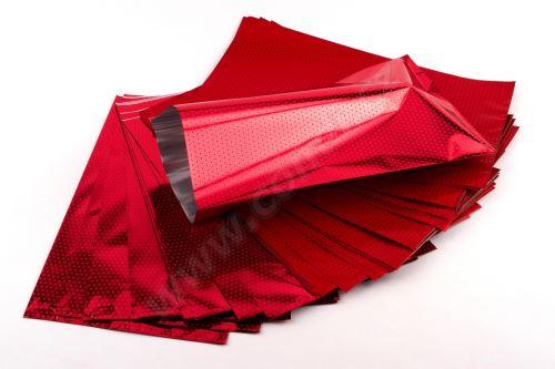 Sáčok polypropylénový metalizovaný s potlačou 20 x 35cm 50ks červený s červenouu
