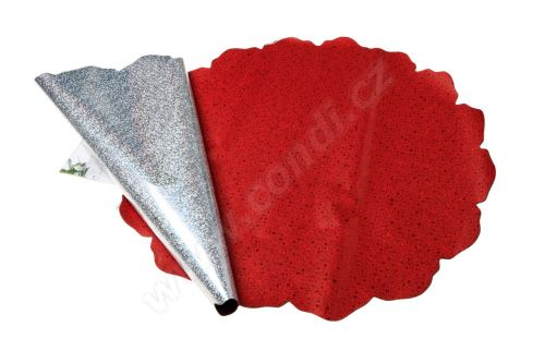 Ronda 50cm holograf červená kolečka 1/2 50ks