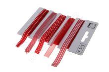 Červený set textilních stuh 1,1cm x 2m 5ks