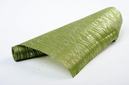 Vlizelín dekoratívne a aranžérske s glitrami 37,5cm ZELENÝ