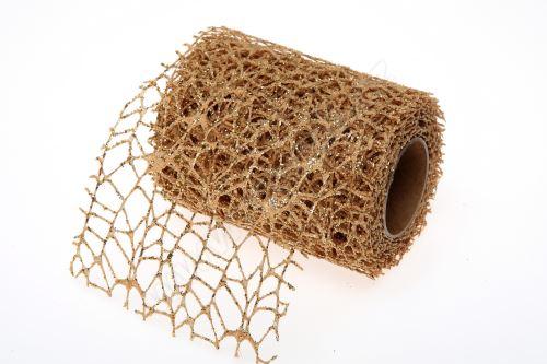 Dekorativní tkanina Big spider glitr 10cm x 4,6m ZLATÁ